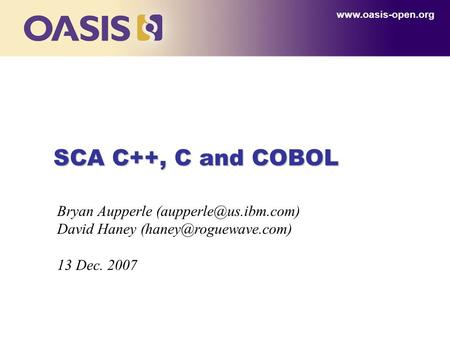 SCA C++, C and COBOL  Bryan Aupperle David Haney 13 Dec. 2007.