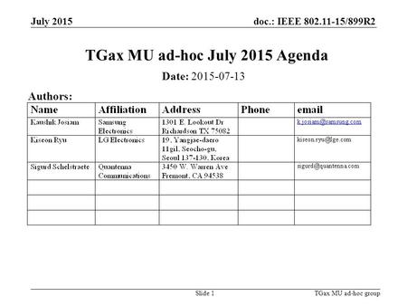 Doc.: IEEE 802.11-15/899R2 July 2015 TGax MU ad-hoc groupSlide 1 TGax MU ad-hoc July 2015 Agenda Date: 2015-07-13 Authors: