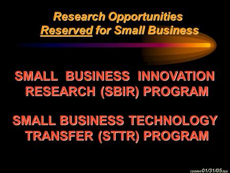 Research Opportunities Reserved for Small Business Reserved for Small Business SMALL BUSINESS INNOVATION RESEARCH (SBIR) PROGRAM SMALL BUSINESS TECHNOLOGY.