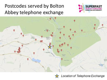 Postcodes served by Bolton Abbey telephone exchange Location of Telephone Exchange.