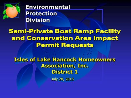 Semi-Private Boat Ramp Facility and Conservation Area Impact Permit Requests Isles of Lake Hancock Homeowners Association, Inc. District 1 July 28, 2015.