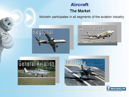 Aircraft The Market Michelin participates in all segments of the aviation industry.