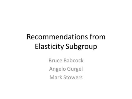 Recommendations from Elasticity Subgroup Bruce Babcock Angelo Gurgel Mark Stowers.