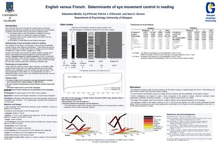 English versus French: Determinants of eye movement control in reading Sébastien Miellet, Cyril Pernet, Patrick J. O'Donnell, and Sara C. Sereno Department.