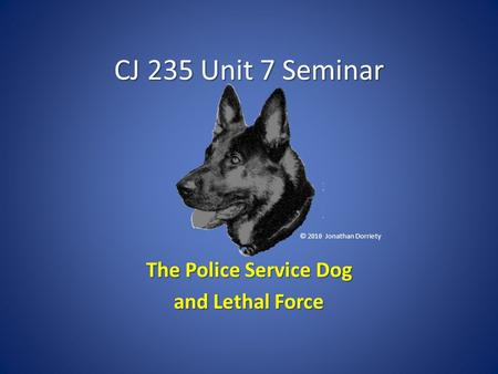 CJ 235 Unit 7 Seminar The Police Service Dog and Lethal Force © 2010 Jonathan Dorriety.