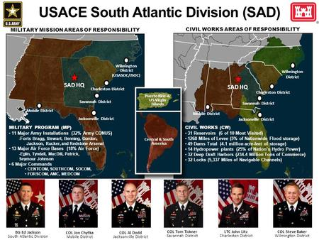 BG Ed Jackson South Atlantic Division COL Steve Baker Wilmington District COL Tom Tickner Savannah District COL Al Dodd Jacksonville District LTC John.