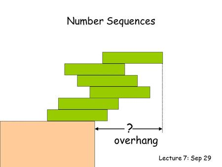 Number Sequences Lecture 7: Sep 29 ? overhang. This Lecture We will study some simple number sequences and their properties. The topics include: Representation.