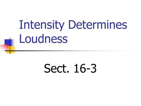 Intensity Determines Loudness