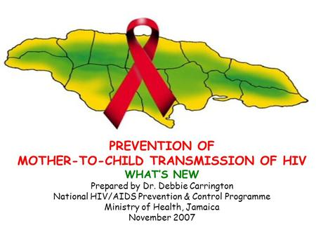 PREVENTION OF MOTHER-TO-CHILD TRANSMISSION OF HIV WHAT'S NEW Prepared by Dr. Debbie Carrington National HIV/AIDS Prevention & Control Programme Ministry.