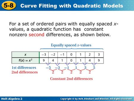 Holt Algebra 2 5-8 Curve Fitting with Quadratic Models For a set of ordered pairs with equally spaced x- values, a quadratic function has constant nonzero.