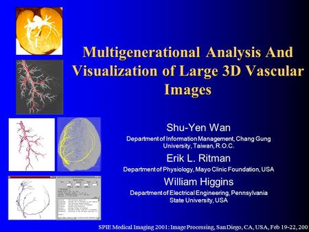 Multigenerational Analysis And Visualization of Large 3D Vascular Images Shu-Yen Wan Department of Information Management, Chang Gung University, Taiwan,