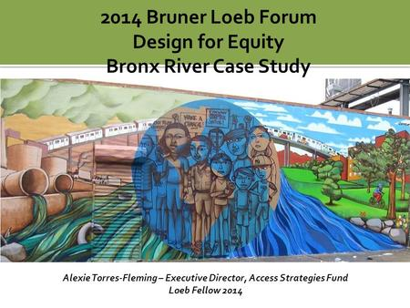 2014 Bruner Loeb Forum Design for Equity Bronx River Case Study Alexie Torres-Fleming – Executive Director, Access Strategies Fund Loeb Fellow 2014.