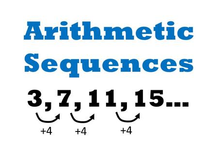 Arithmetic Sequences 3, 7, 11, 15… +4. 3, 7, 11, 15… +4 Common difference is +4. If there is a constant common difference, the sequence is an Arithmetic.