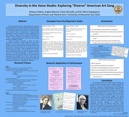 "Diversity in the Voice Studio: Exploring ""Diverse"" American Art Song Rebecca Kidnie, Angela Nieman, Emily Worzalla, and Dr. Mitra Sadeghpour Department."