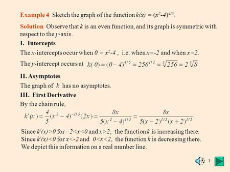1 Example 4 Sketch the graph of the function k(x) = (x 2 -4) 4/5. Solution Observe that k is an even function, and its graph is symmetric with respect.