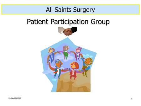 Updated 01.2014 1 Created 21.11.2006 By C. Standerwick Patient Participation Group All Saints Surgery.