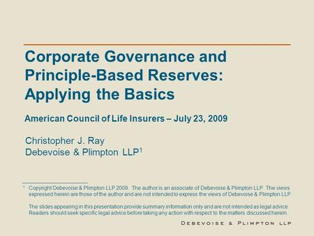 Corporate Governance and Principle-Based Reserves: Applying the Basics