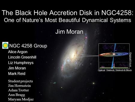 Kagoya/Inoue Optical: Slotnick, Slotnick & Block The Black Hole Accretion Disk in NGC4258: One of Nature's Most Beautiful Dynamical Systems Alice Argon.