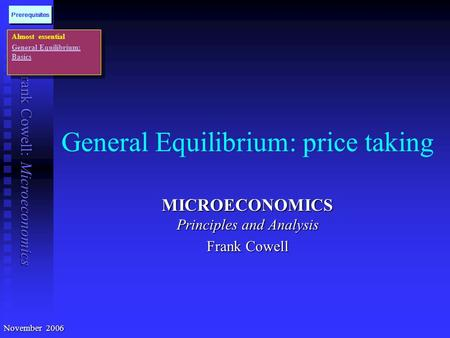 Frank Cowell: Microeconomics General Equilibrium: price taking MICROECONOMICS Principles and Analysis Frank Cowell Almost essential General Equilibrium: