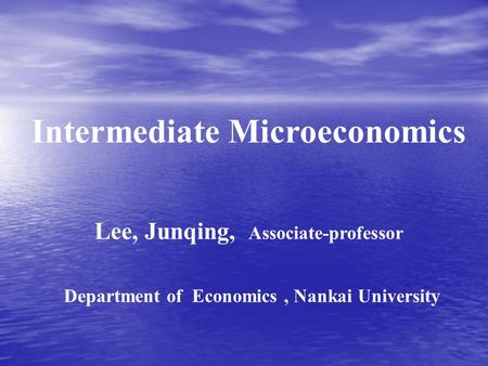 INTERMEDIATE ITS AND APPLICATION MICROECONOMICS