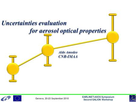 Geneva, 20-23 September 2010 EARLINET-ASOS Symposium Second GALION Workshop Uncertainties evaluation for aerosol optical properties Aldo Amodeo CNR-IMAA.