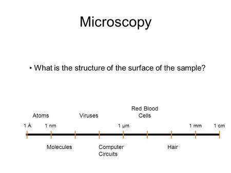 Microscopy • What is the structure of the surface of the sample? Atoms