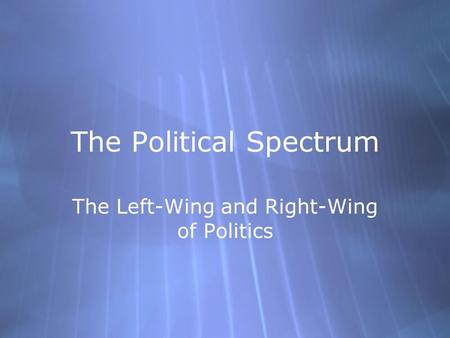 The Political Spectrum The Left-Wing and Right-Wing of Politics.