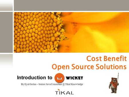 Cost Benefit Open Source Solutions By Eyal Golan – Senior Java Tikal Knowledge Introduction to.