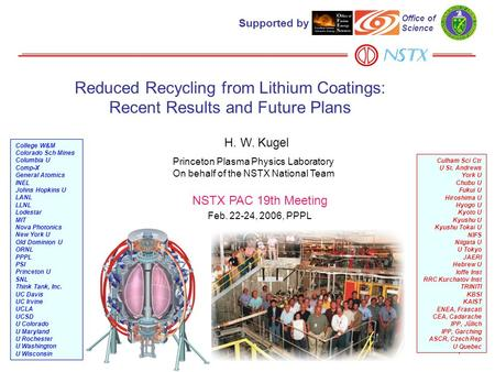 HWK NSTX PAC19, Feb. 22-24, 2006 1 Reduced Recycling from Lithium Coatings: Recent Results and Future Plans Supported by Office of Science Culham Sci Ctr.