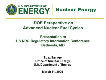 Office of Nuclear Energy U.S. Department of Energy