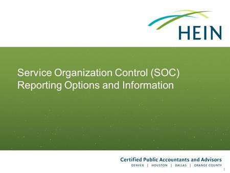 Service Organization Control (SOC) Reporting Options and Information
