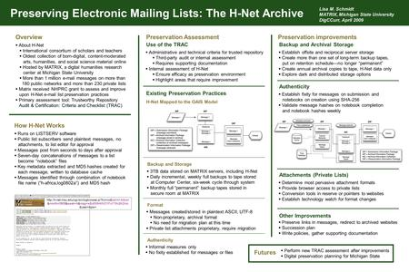 Preserving Electronic Mailing Lists: The H-Net Archive H-Net Mapped to the OAIS Model Preservation AssessmentPreservation improvementsOverview How H-Net.