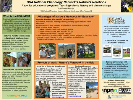 USA National Phenology Network's Nature's Notebook A tool for educational programs: Teaching science literacy and climate change LoriAnne Barnett USA National.