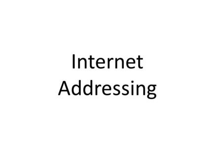 Internet Addressing. When your computer is on the Internet, anything you do requires data to be transmitted and received. For example, when you visit.