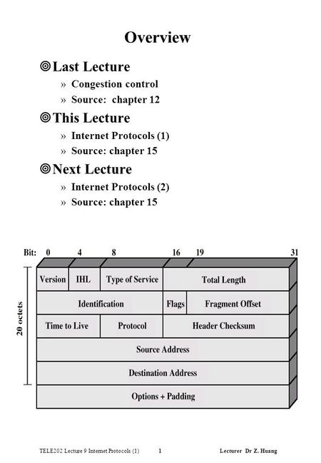 TELE202 Lecture 9 Internet Protocols (1) 1 Lecturer Dr Z. Huang Overview ¥Last Lecture »Congestion control »Source: chapter 12 ¥This Lecture »Internet.