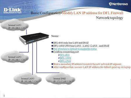 Basic Configuration-Modify LAN IP address for DFL Firewall