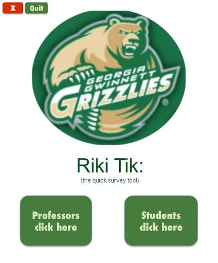 Riki Tik: (the quick survey tool). Professors IP address: 255 : 10 : 35 : 130 There are: 12 students connected so far What type of question would you.