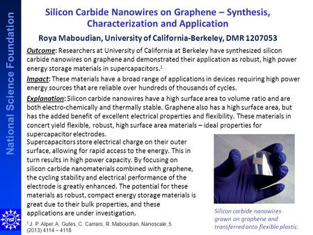 National Science Foundation Silicon Carbide Nanowires on Graphene – Synthesis, Characterization and Application Roya Maboudian, University of California-Berkeley,