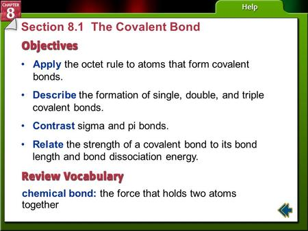 Section 8.1 The Covalent Bond