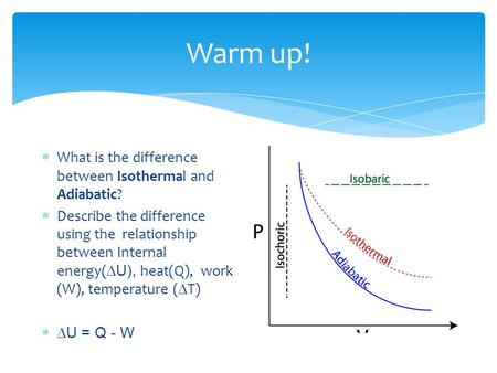 Warm up!  What is the difference between Isothermal and Adiabatic?  Describe the difference using the relationship between Internal energy(  U), heat(Q),