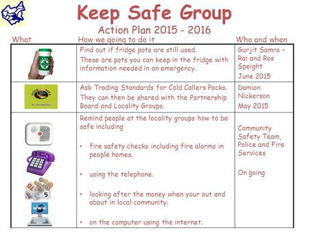 Keep Safe Group Action Plan 2015 - 2016 Find out if fridge pots are still used. These are pots you can keep in the fridge with information needed in an.
