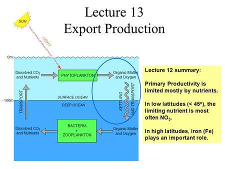 Lecture 13 Export Production Lecture 12 summary: Primary Productivity is limited mostly by nutrients. In low latitudes (< 45 o ), the limiting nutrient.