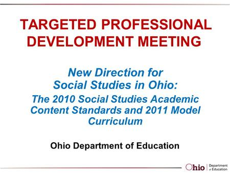 TARGETED PROFESSIONAL DEVELOPMENT MEETING