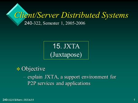 240-322 Cli/Serv.: JXTA/151 Client/Server Distributed Systems v Objective –explain JXTA, a support environment for P2P services and applications 240-322,