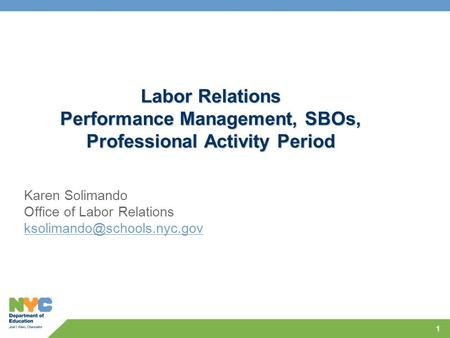 1 Labor Relations Performance Management, SBOs, Professional Activity Period Karen Solimando Office of Labor Relations