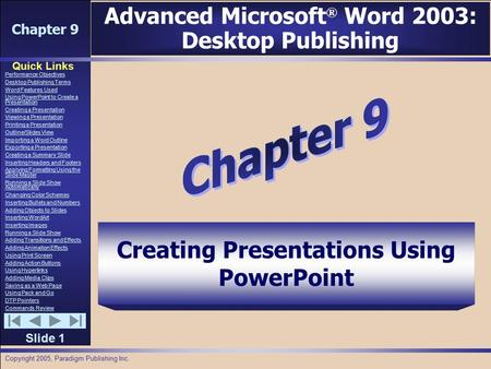 Chapter 9 Quick Links Slide 1 Performance Objectives Desktop Publishing Terms Word Features Used Using PowerPoint to Create a Presentation Creating a Presentation.