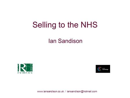 / Selling to the NHS Ian Sandison.