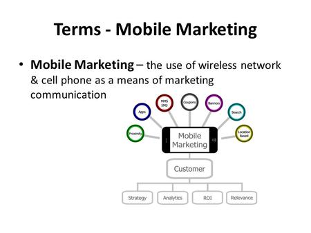 Terms - Mobile Marketing Mobile Marketing – the use of wireless network & cell phone as a means of marketing communication.