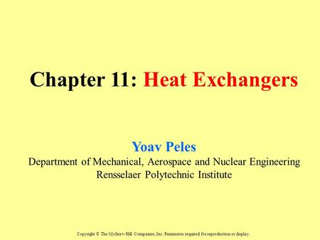 Chapter 11: Heat Exchangers