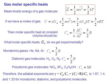 Gas molar specific heats Mean kinetic energy of a gas molecule: If we have n moles of gas: Then molar specific heat at constant volume should be: What.